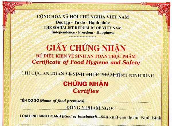 Điều kiện, thủ tục cấp giấy chứng nhận vệ sinh an toàn thực phẩm